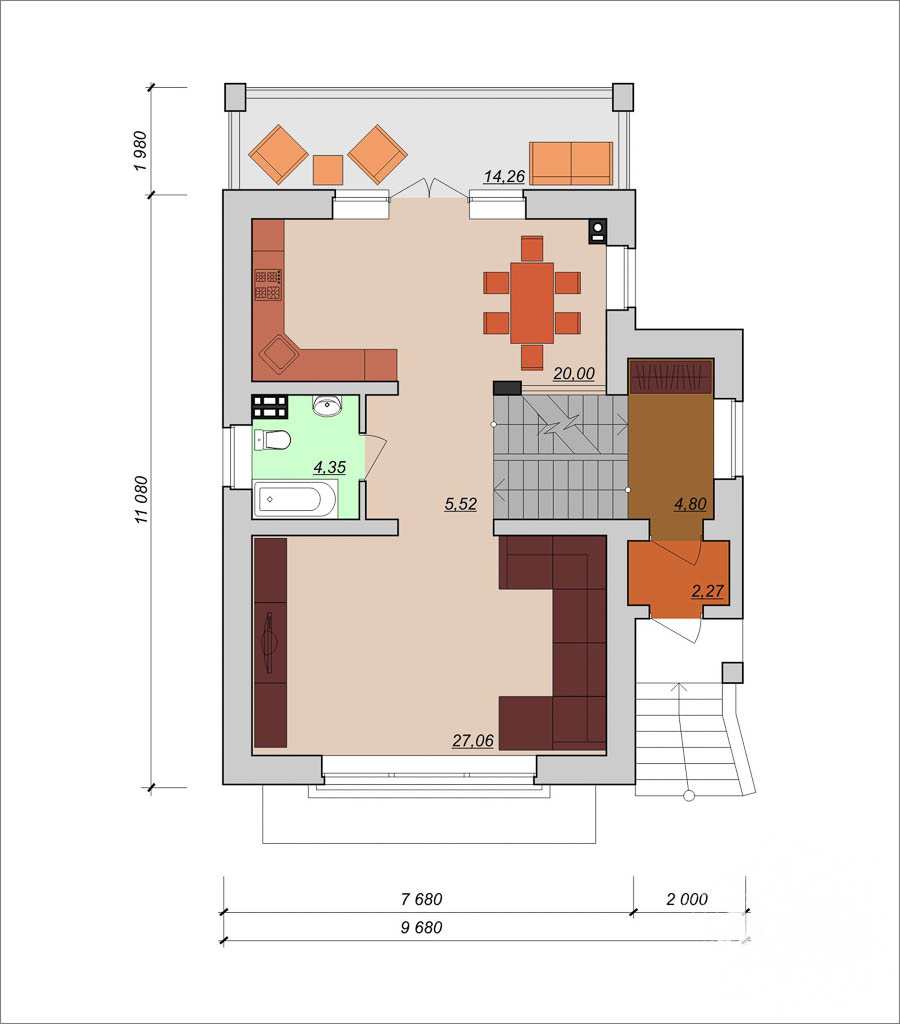 Дизайн фасада коттеджа 200м2 в КП Палникс 4